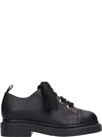 Grey Mer Black Leather Lace Up Shoes