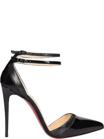 Christian Louboutin Black Patent Uptown Double Sandals