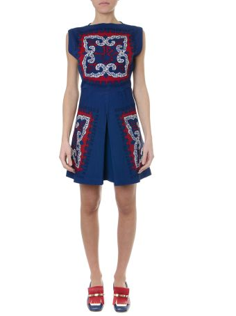 Valentino Short Blue Viscose Embroidery Logo Dress