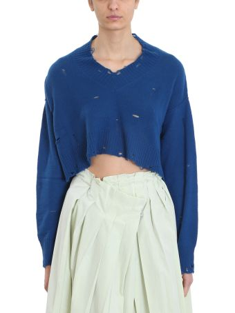 Maison Flaneur V Neck Blue Cashmere Sweater