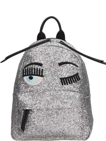 Chiara Ferragni Silver Glitter Leather Small Flirting Backpack