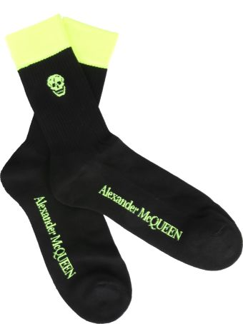 Alexander McQueen Fluo Banda And Skull Socks