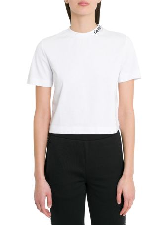 Calvin Klein Jeans Cropo Tee With Contrasting Logo Embroidery On Neck