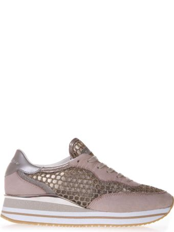 Crime london Pink Suede & Gold Mesh Sneakers