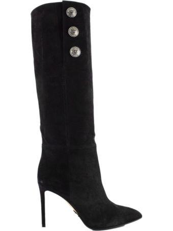 Balmain Jane Black Suede Ankle Boots