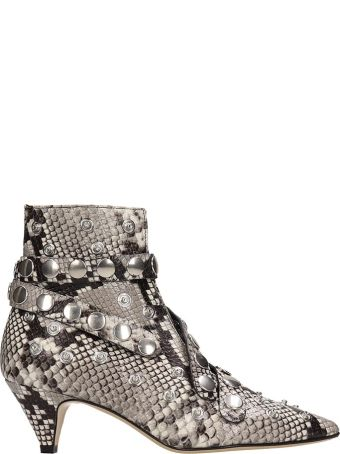 Alchimia Python Print Leather Ankle Boots