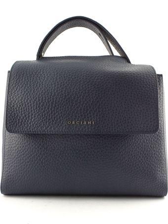 Orciani Navy Leather Sveva Large Bag