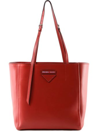 Prada Logo Patch Shopper Tote
