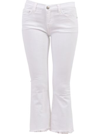 Current/Elliott Cropped Denim Jeans White