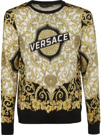 Versace Floral Logo Print Sweater