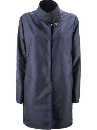 Fay Overcoat In Blue High Tech Fabric
