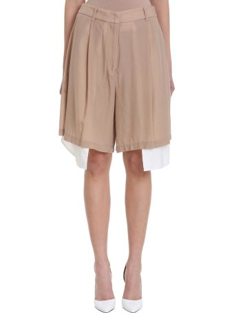 Maison Flaneur Asymmetric White Beige Cotton Skirt Short