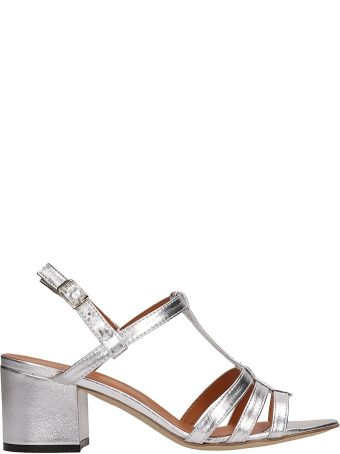 Via Roma 15 Silver Leather Sandals