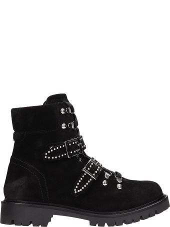 Julie Dee Black Suede Leather Ankle Boots
