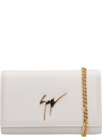 Giuseppe Zanotti White Leather Clutch