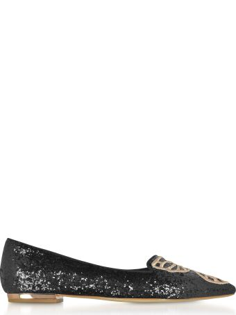 Sophia Webster Black And Rose Gold Bibi Butterfly Flat Ballerinas
