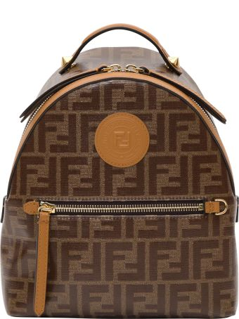 Fendi Mini Backpack In Tessuto Vetrificato Ff Allover E Patch Logo 25 X 21 X 10 Cm