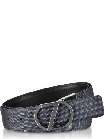 Ermenegildo Zegna Navy Blue & Black Cross Grain Leather Adjustable And Reversible Men's Belt