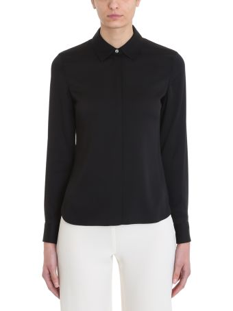 Theory Classic Fitted Black Silk Concealed Front Shirt