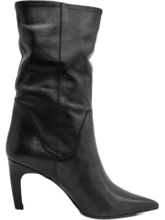 Aldo Castagna Ankle Boot In Smooth Black Leather.