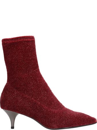 Lola Cruz Red Glitter Fabric Ankle Boots