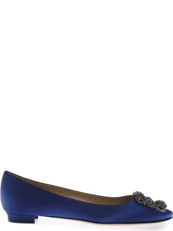 Manolo Blahnik Blue Satin Jewel Buckled Flats
