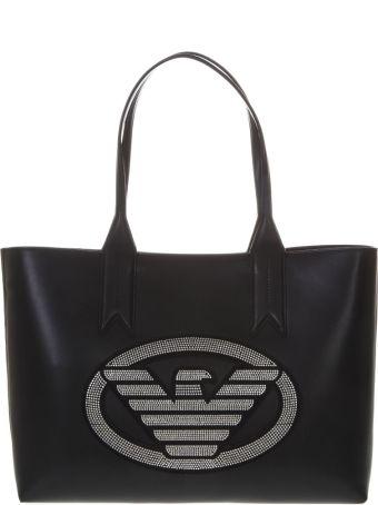 Emporio Armani Embellished Black Faux Leather Shopper Bag With Iconic Eagle Logo