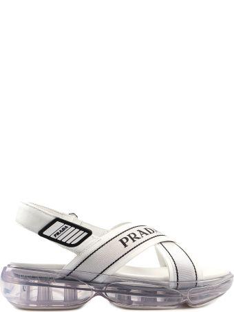 Prada Crisscross Logo Sandals