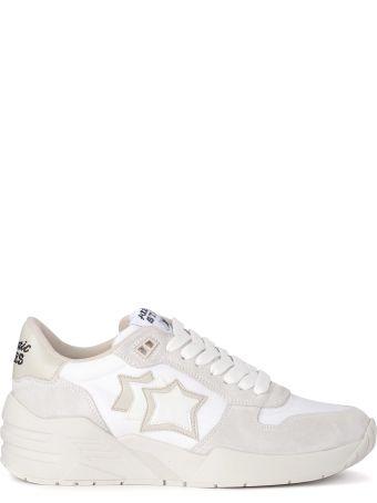 Atlantic Stars Venus White Fabric And Grey Suede Sneaker