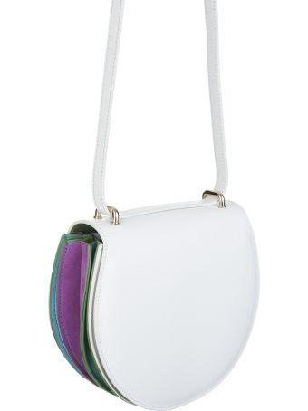 Sara Battaglia Caroline Plisse' White Rainbow Bag