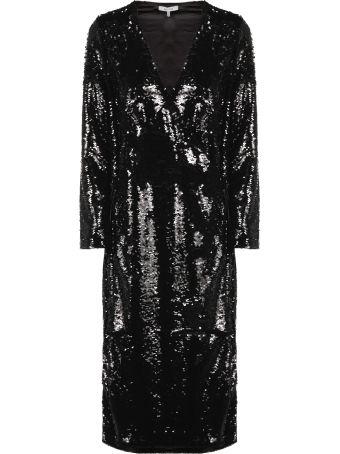 Ganni Sequin-coated Wrap Long Dress