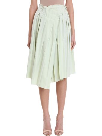 Maison Flaneur Asymmetric Mint Wool Skirt