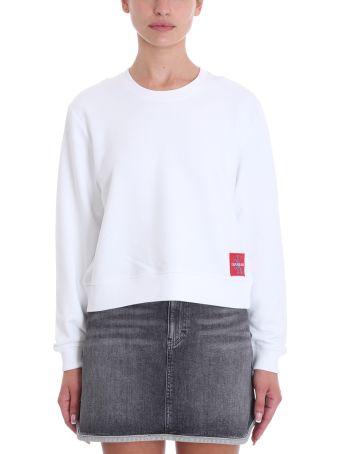 Calvin Klein Jeans White Cotton Sweatshirt
