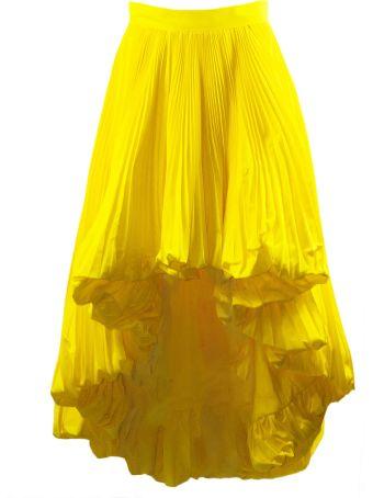 Alexandre Vauthier Yellow Full Pleated Skirt
