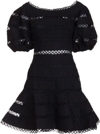Zimmermann Bowie Contour Hailspot Dress In Black