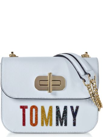 Tommy Hilfiger Light Blue Turn-lock Crossover Bag W/crystals