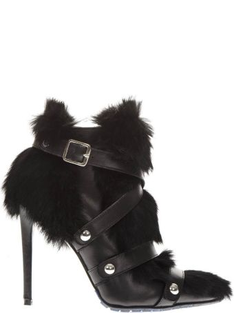 Frankie Morello Black Leather & Fur Ankle Boots
