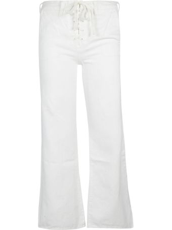 Mother Drawstring Flared Trousers