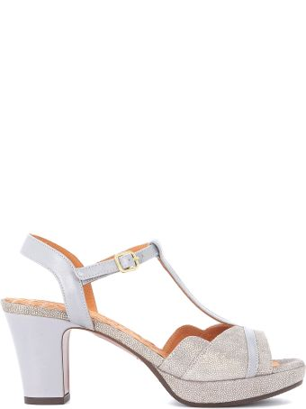 Chie Mihara Belina Grey And Metallic Leather Heeled Sandal
