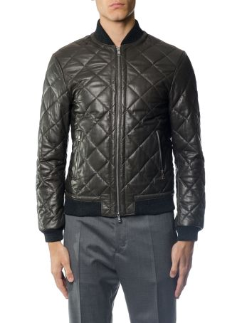 Low Brand Quilted Leather Bomber Jacket