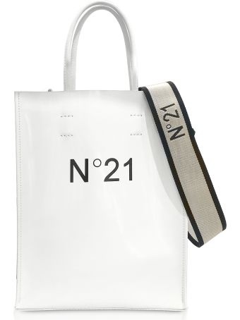 N.21 N°21  White Patent Eco-leather Small Tote Bag