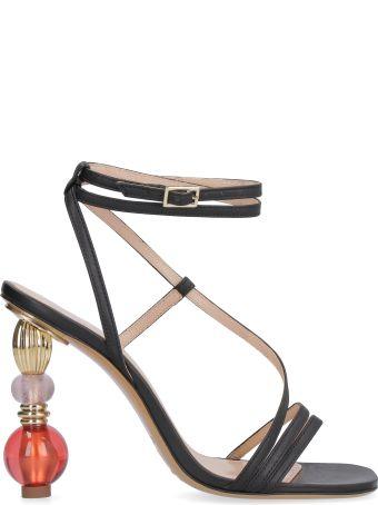 Jacquemus Bordighera Leather Sandals With Sculpture Heels