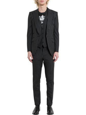 Dolce & Gabbana Sicilia Suit In Pinstripe Stretch Wool
