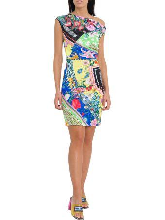 Versace Draped Mini Dress With Floralmania Print