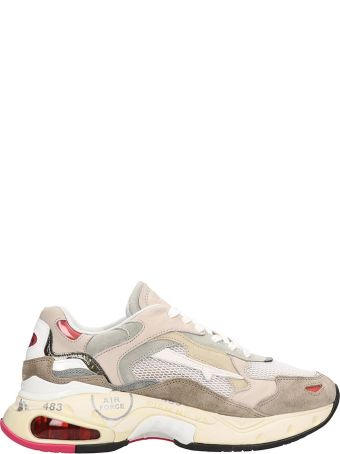 Premiata Beige Leather And Fabric Sharky Sneakers