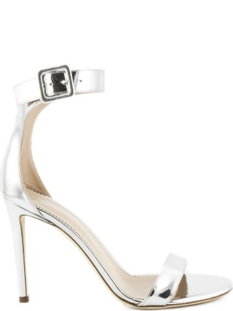 Giuseppe Zanotti Sandals In Silver-tone Laminated Leather