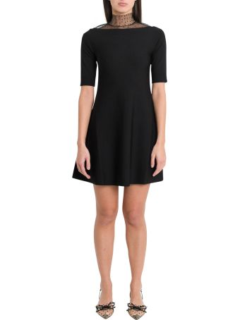RED Valentino Short Dress With Point D'espit Neck