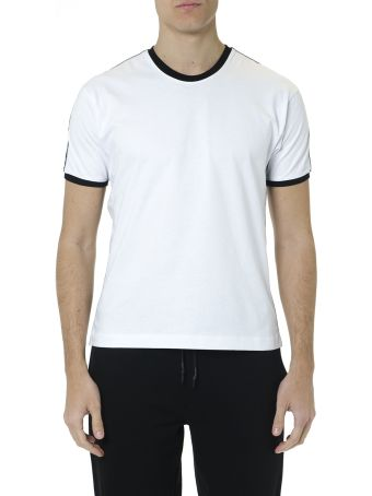 McQ Alexander McQueen White Cotton T Shirt With Edges And  Logo Stripes