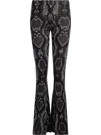 Circus Hotel Black And Grey Fabric Trousers Snake Skin Effect