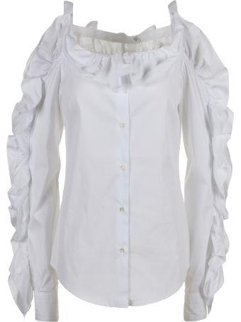 Sara Roka Ruffled Cold Shoulder Shirt